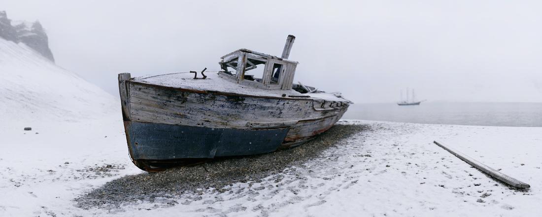 Abandoned fishing vessel, Skansbukta.  78°32'N, 016°20'E